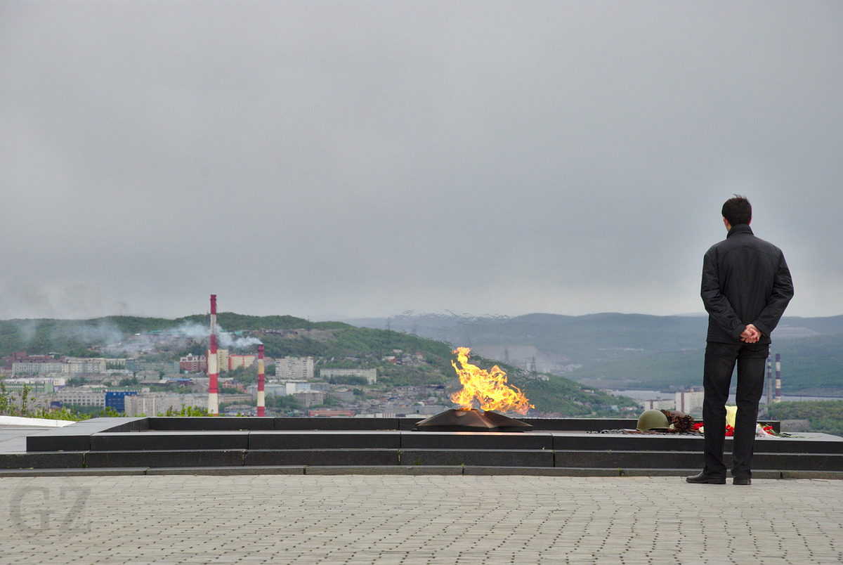 Eternal flame at Alyosha memorial in Murmansk