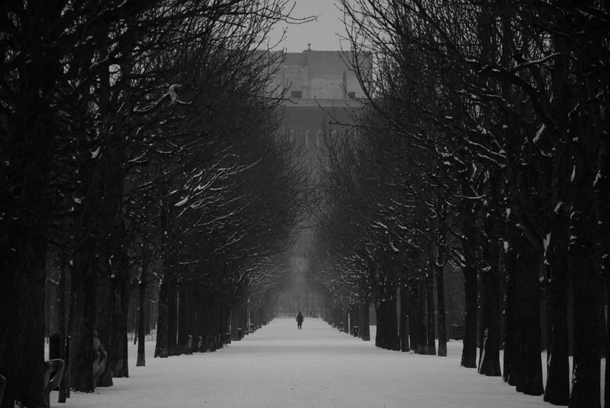 One flak tower in the Augarten in Vienna in winter