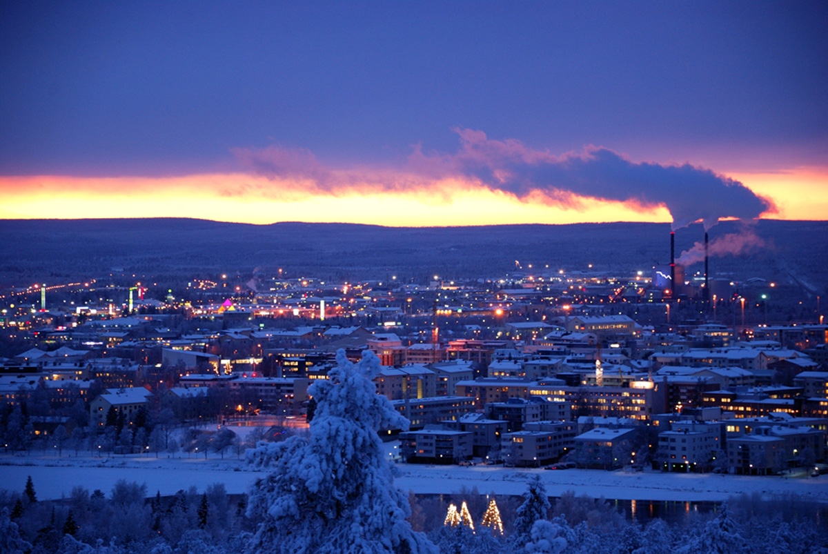 Afternoon sun set in Rovaniemi in December