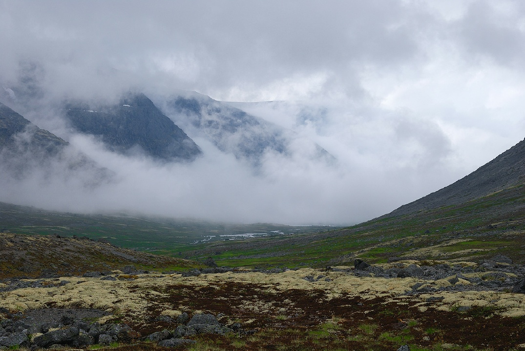 Morning fog moving up in the Khibiny mountains